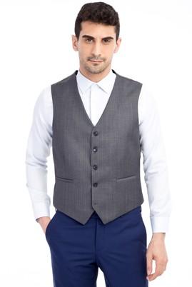 Erkek Giyim - Füme Gri 56 56 Klasik Çizgili Yelek