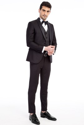 Erkek Giyim - Slim Fit Şal Yaka Desenli Smokin / Damatlık