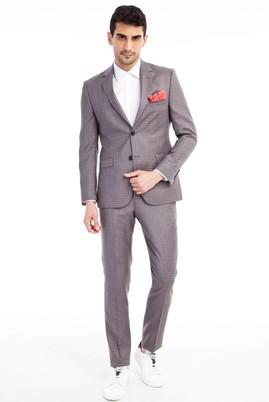 Erkek Giyim - VİZON 48 48 Slim Fit Kareli Takım Elbise