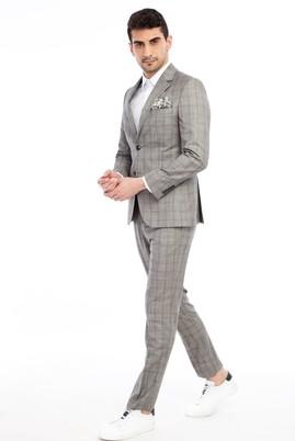 Erkek Giyim - Açık Gri 46 46 Slim Fit Ekose Takım Elbise