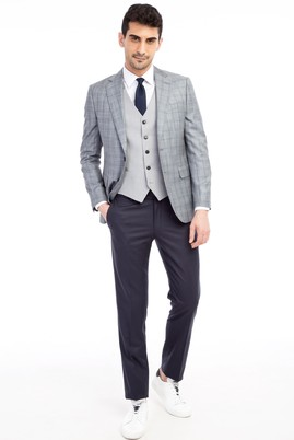 Erkek Giyim - Açık Gri 44 44 Slim Fit Yelekli Kombinli Ekose Takım Elbise