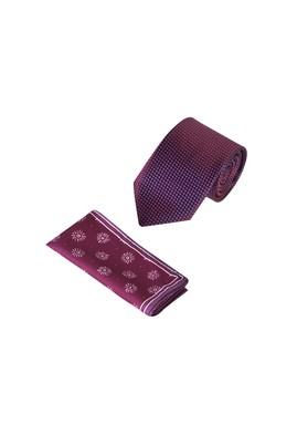 Erkek Giyim - Bordo  75 2'li Kravat Mendil Set
