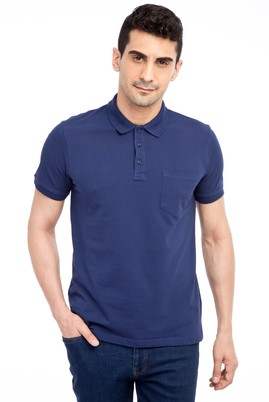Erkek Giyim - Lacivert L L Polo Yaka Regular Fit Tişört