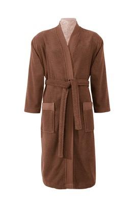 Erkek Giyim - Kimono Yaka Jakarlı Bornoz