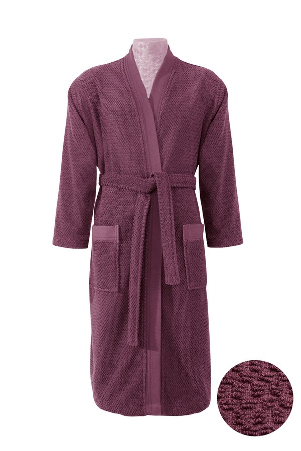Kimono Yaka Mürdüm Jakarlı Bornoz