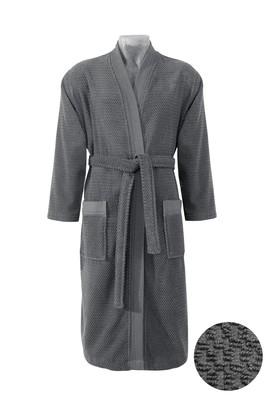 Erkek Giyim - Kimono Yaka Antrasit Jakarlı Bornoz