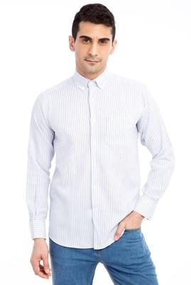 Erkek Giyim - Açık Mavi L L Uzun Kol Çizgili Klasik Gömlek