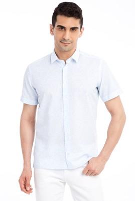 Erkek Giyim - Açık Mavi M M Kısa Kol Desenli Slim Fit Gömlek