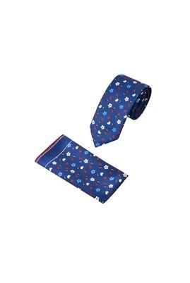 Erkek Giyim - Lacivert 65 65 2'li Kravat Mendil Set