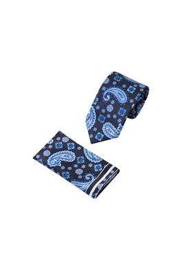 Erkek Giyim - Lacivert  75 2'li Kravat Mendil Set