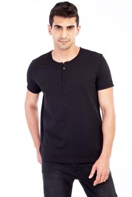 Erkek Giyim - Siyah L L Bisiklet Yaka Düğmeli Regular Fit Tişört