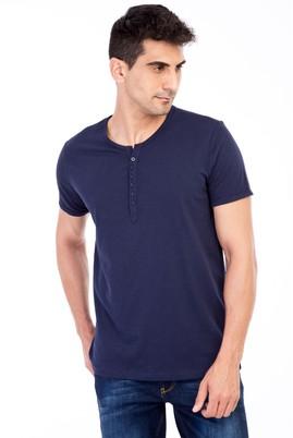 Erkek Giyim - Lacivert M M Bisiklet Yaka Düğmeli Regular Fit Tişört