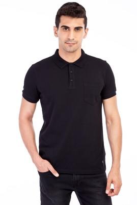 Erkek Giyim - Siyah 3X 3X Polo Yaka Klasik Regular Fit Tişört