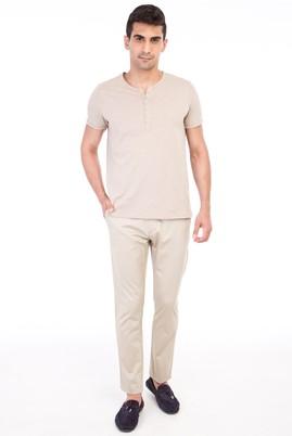 Erkek Giyim - Bej 56 56 Saten Spor Pantolon