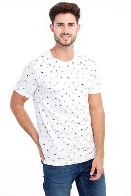 Erkek Giyim - Beyaz M M Bisiklet Yaka Desenli Slim Fit Tişört