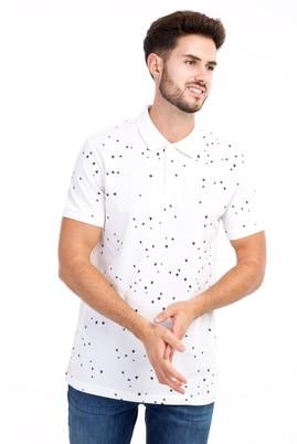 Erkek Giyim - Beyaz S S Polo Yaka Desenli Slim Fit Tişört