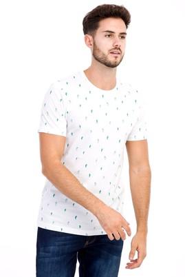 Erkek Giyim - Beyaz S S Bisiklet Yaka Desenli Slim Fit Tişört
