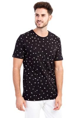 Erkek Giyim - Siyah XL XL Bisiklet Yaka Desenli Slim Fit Tişört