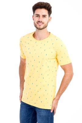 Erkek Giyim - Sarı S S Bisiklet Yaka Desenli Slim Fit Tişört