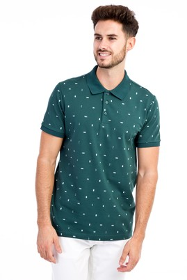 Erkek Giyim - KOYU YESİL L L Polo Yaka Desenli Slim Fit Tişört