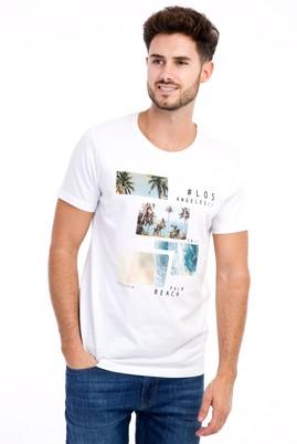 Erkek Giyim - Bisiklet Yaka Baskılı Slim Fit Tişört