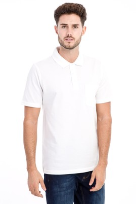 Erkek Giyim - Beyaz 3X 3X Polo Yaka Klasik Tişört