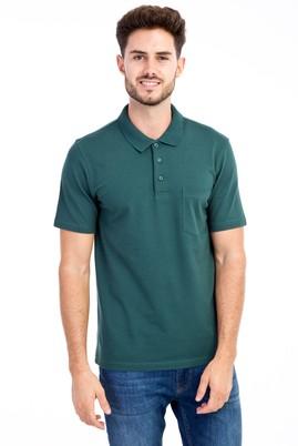 Erkek Giyim - KOYU YESİL XXL XX Polo Yaka Klasik Tişört