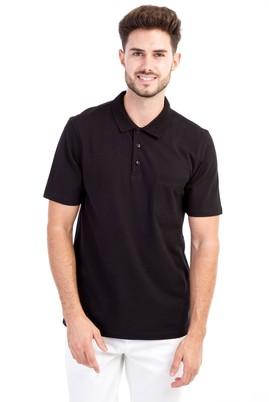Erkek Giyim - Siyah L L Polo Yaka Klasik Tişört