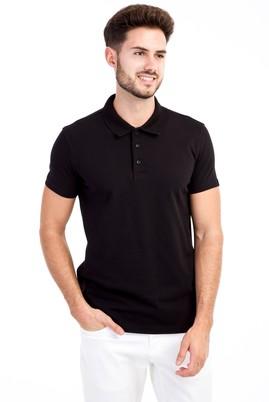 Erkek Giyim - Siyah L L Polo Yaka Slim Fit Tişört
