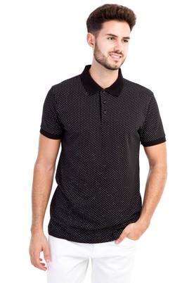 Erkek Giyim - Siyah M M Polo Yaka Desenli Slim Fit Tişört