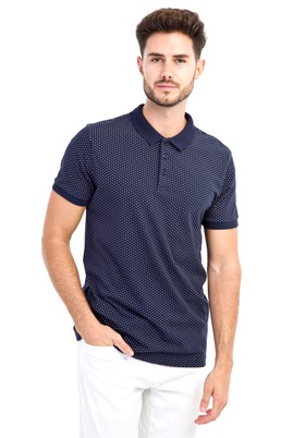 Erkek Giyim - Lacivert L L Polo Yaka Desenli Slim Fit Tişört