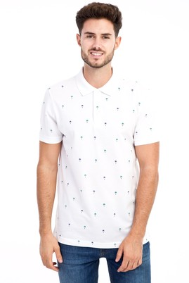Erkek Giyim - Beyaz M M Polo Yaka Desenli Slim Fit Tişört