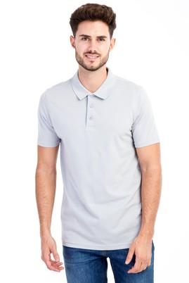 Erkek Giyim - Açık Gri L L Polo Yaka Slim Fit Tişört