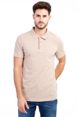 Erkek Giyim - Bej L L Polo Yaka Slim Fit Tişört