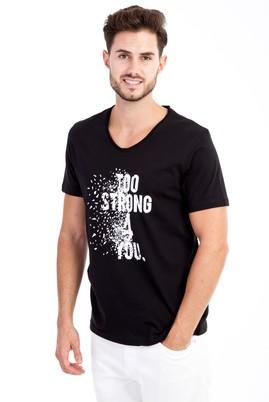Erkek Giyim - Siyah M M V Yaka Baskılı Slim Fit Tişört