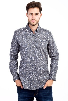 Erkek Giyim - KOYU YESİL L L Uzun Kol Baskılı Gömlek