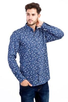 Erkek Giyim - Lacivert L L Uzun Kol Baskılı Gömlek
